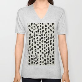 Tribal Spot Black Earth on Ivory Unisex V-Neck