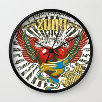 propaganda Wall Clocks featuring Graphic propaganda by Tshirt-Factory