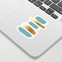 Brush Strokes (Teal/Gold) Sticker