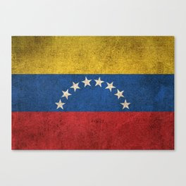 Old and Worn Distressed Vintage Flag of Venezuela Canvas Print