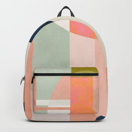 shapes modern mid-century peach pink coral mint Backpack