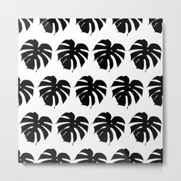 Black monstera silhouettes on white background. Tropical leaves. Metal Print
