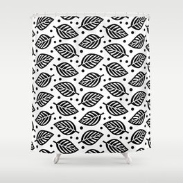 Mid Century Modern Falling Leaves Black and White 2 Shower Curtain