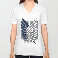 snk V-neck T-shirts featuring snk scouting legion by midoriyoru