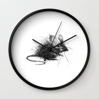 mouse Wall Clocks featuring mouse by Gemma Tegelaers