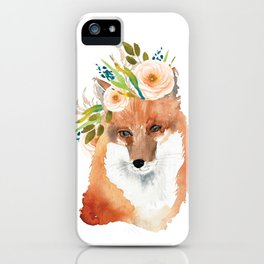 fox with flower crown iPhone Case