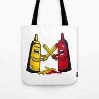 fries Tote Bags featuring Fries wars by pludadesign