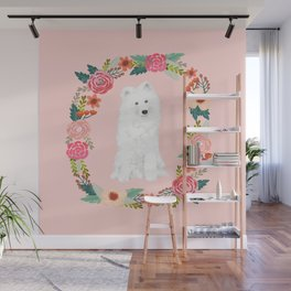 Samoyed dog breed floral wreath pet portrait dog gifts Wall Mural