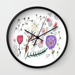 Flowers and Teeth Wall Clock