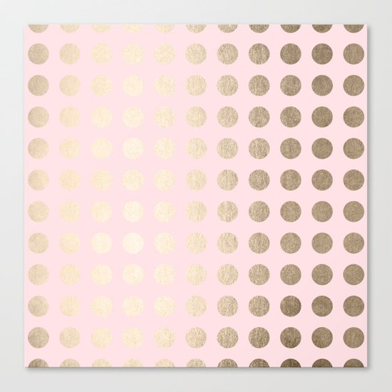 Simply Polka Dots White Gold Sands on Flamingo Pink Canvas Print