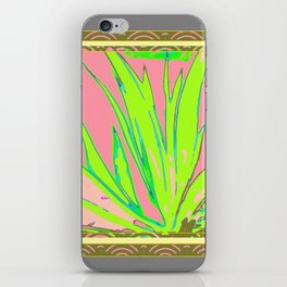 Chartreuse Plant Foliage Pink-Grey Patterns iPhone Skin