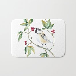 Chickadee on a tree! Bath Mat