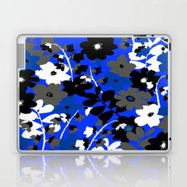 SUNFLOWER TRELLIS BLUE BLACK GRAY AND WHITE TOILE Laptop & iPad Skin