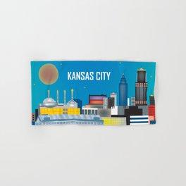 Kansas City, Missouri - Skyline Illustration by Loose Petals Hand & Bath Towel