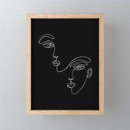 Faces one line minimalist drawing on black Framed Mini Art Print