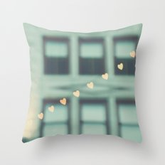 hearts. An Urban Romance No. 2., bokeh downtown Los Angeles photograph Throw Pillow