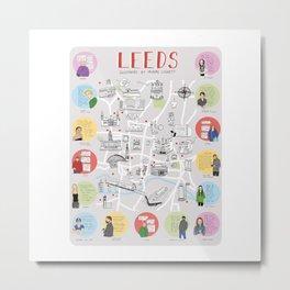 Leeds Map Metal Print