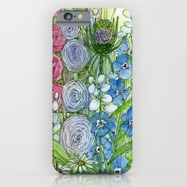 Rainbow Garden Watercolor Ink Painting iPhone Case