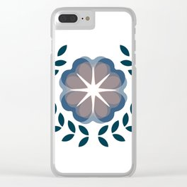 floral wreath // blue Clear iPhone Case