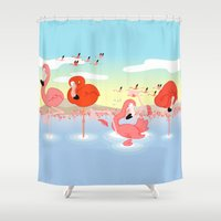 flamingos Shower Curtains featuring flamingos by Alapapaju