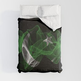 Pakistan Smoke Flag on Black Background, Pakistan flag Comforters