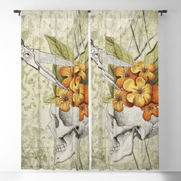 Anxiety Ridden   Skull with Flowers Blackout Curtain