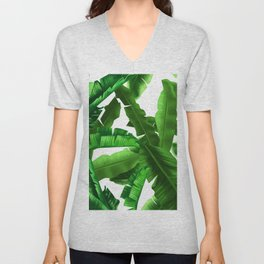 tropical banana leaves pattern Unisex V-Neck