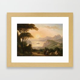 Antoni Lange (1779-1844) attributed Southern Landscape with decorative figures in the foreground Framed Art Print