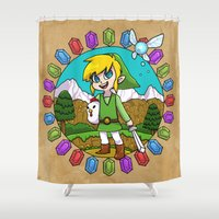 hyrule Shower Curtains featuring Hyrule Adventurer by Crimson Pumpkin