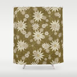 Vintage White Flowers Shower Curtain