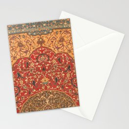 Flowery Vines III // 16th Century Contemporary Red Blue Yellow Colorful Ornate Accent Rug Pattern Stationery Cards