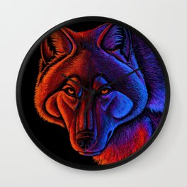 Fire Wolf Colorful Fantasy Animals Wall Clock