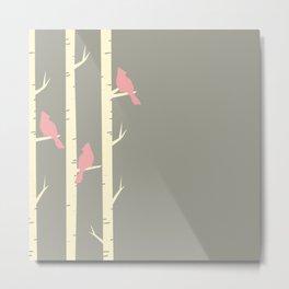 Bird Neck Gator Birch Tree Pink and Gray Birds Bird Metal Print