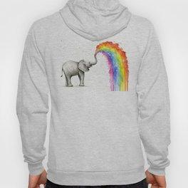 Baby Elephant Rainbow Spraying Cute Whimsical Animals Hoody