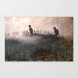 On the Wire War Landscape Painting by Harvey Thomas Dunn Canvas Print