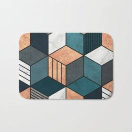 Copper, Marble and Concrete Cubes 2 with Blue Bath Mat