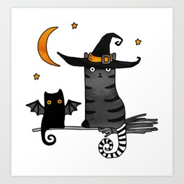2 cats – Bat and Wizard on a broomstick for Halloween Art Print