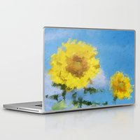 sunflowers Laptop & iPad Skins featuring Sunflowers by Paul Kimble