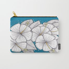 Zentangle Blue and Gold Hibiscus Blossoms for Flower Lovers Carry-All Pouch