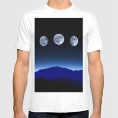 Moon Phases #blue MEDIUM Mens Fitted Tee White