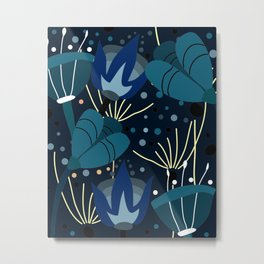 Magical blue flowers Metal Print