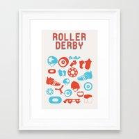 roller derby Framed Art Prints featuring Roller Derby by RhiannonHeeley