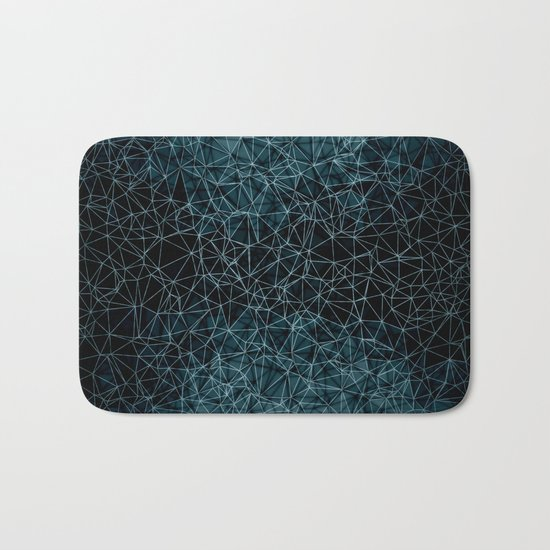 Polygonal blue and black Bath Mat