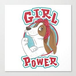 Basset Hound Girl Power Canvas Print