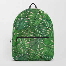 ROSE QUARTZ MONSTERA, by Frank-Joseph Backpack
