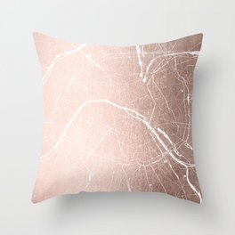 Paris France Minimal Street Map - Rose Gold Glitter on White Throw Pillow