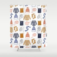knitting Shower Curtains featuring Knitting by Holly Dunn Design