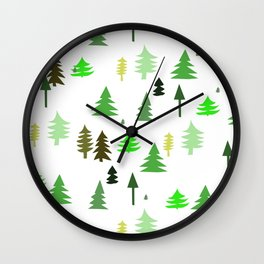 Trees, pines art print for children Wall Clock