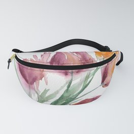 Bleeding Tulips in loose watercolor Fanny Pack