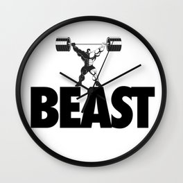 beast - heavy weight lifter bodybuilder Wall Clock